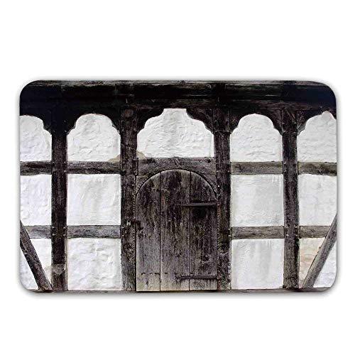 Shutters Non Slip Door Mat,Old Door of The Farmhouse Facade Ancient Architectural Detail Timber Framing Doormat for Front Door Indoor,31.5