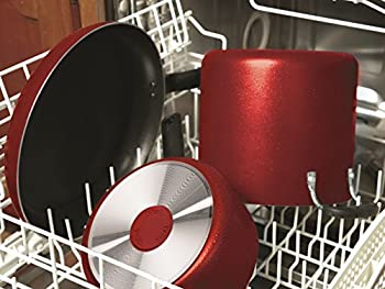 T-fal B165si Initiatives Nonstick Inside & Out Dishwasher Safe 18-piece Cookware Set, Red 4