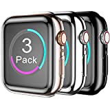 Henva Case Compatible with Apple Watch 38mm Series 3, Series 2, Series 1, Overall Protective Case Ultrathin TPU Cover Compatible for iWatch 38mm Series 3 2 1, 3 Pack, Black, Silver, Clear