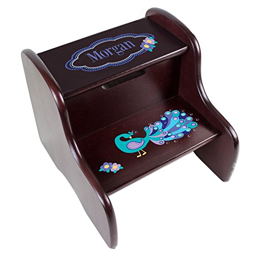 MyBambino Personalized Peacock Espresso Two Step Stool by MyBambino