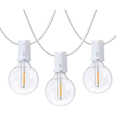 SUNSGNE 25 Foot G40 Outdoor Patio String Lights with 25 Shatterproof LED Clear Globe Bulbs, Warm White UL Listed for Indoor/Outdoor Commercial Decor, White Wire : Garden & Outdoor