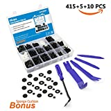 EZYKOO 420 pcs Auto Rivet Retainer Assortment-18 Popular Sizes Car Door Panel Clips Kit-Plastic Upholstery Fasteners for Honda GM Chrysler Nissan Ford -5 pcs Trim Removal Tool Kit
