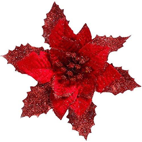 Birdfly Christmas Flower Decor Shiny Artificial Flower DIY Home Xmas Ornament Under 5 Dollar (Red)