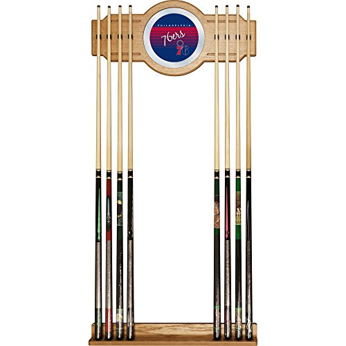 NBA Philadelphia 76ers Cue Rack with Mirror, One Size, Brown by Trademark Global