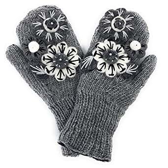 Hand Knit Mittens Felted Wool Flower Winter Gloves Warm