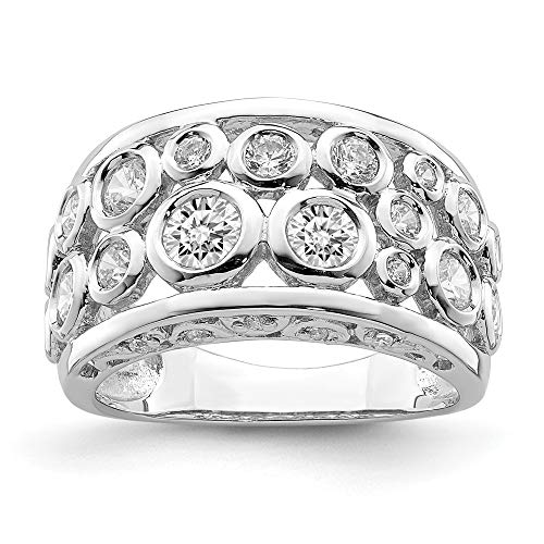 925 Sterling Silver Bezel Set Cubic Zirconia Cz Band Ring Size 8.00 Fine Jewelry Gifts For Women For Her ()