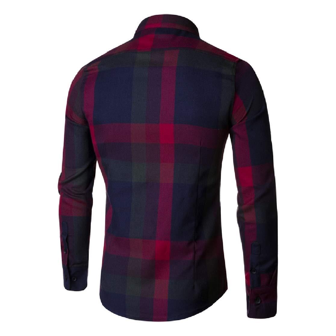 Comaba Mens Plaid Corduroy Oversize Britain Leisure Work Shirt