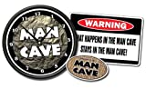 MAN CAVE Clock & What Happens in the Man Cave Sign Gift Set room Man Cave Decal included