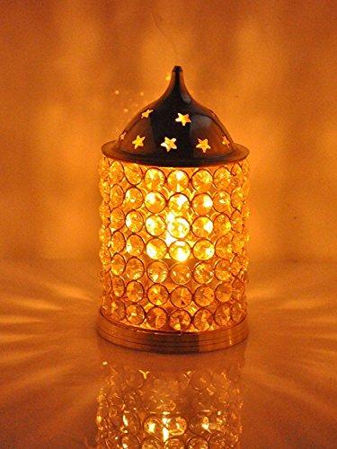 CraftVatika Akhand Diya Crystal Brass Dia Oil Lamp Tealight Holder | Home Lights | Diya For Puja (Large) by CraftVatika