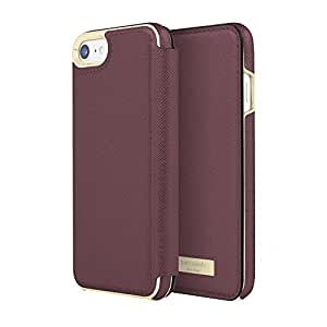 Kate Spade New York Protective Folio Case for iPhone 8 & iPhone 7 - Saffiano Mahogany w/ Gold Logo Plate