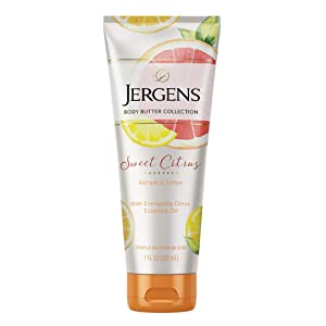 Jergens Sweet Citrus Body Butter Moisturizer, 7 Ounce Lotion, with Essential Oil, for Indulgent Moisturization