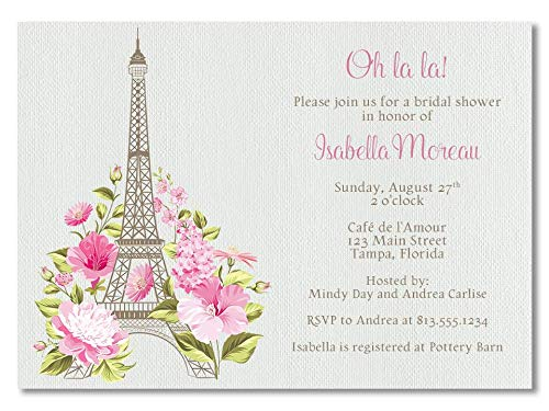 Bridal Shower Invitations, Paris, French Theme Invites, Tea, Flowers, Eiffel Tower, Wood, Wedding, Shower, Paris Theme, Invites, 10 Pack Customized Invites with White Envelopes