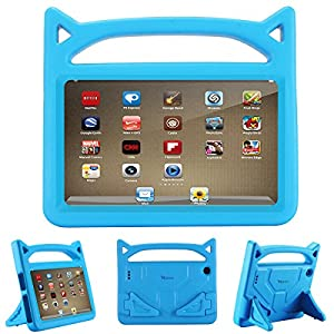 All-New Fire 7 2017 Case,Fire 7 2015, Riaour Kids Shock Proof Protective Cover Case for Amazon Fire 7 Tablet (Compatible with 5th Generation 2015/7th Generation 2017) (Blue)