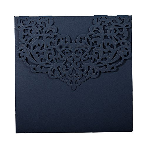 50X Wishmade Blue Laser Cut Invitation Card Kits Square Invitation Tri-Fold for Wedding Invitation with Envelope and RSVP Card Invitation Provide Personalized Printing AW7073