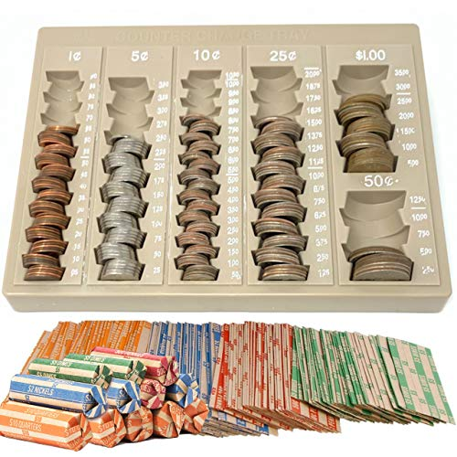 - Coin Counter and Sorters Money Tray - Bundled with 64 Coin Roll Wrappers - 6 Storage Compartment Change Counter Organizer and Holder - Ideal Coin Dispenser Trays for Bank Tellers Business or Home Use