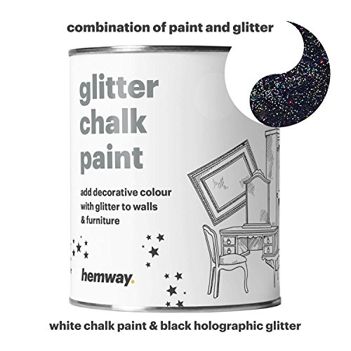 Hemway White Chalk Paint (with Black Holographic Glitter) Sparkle Matt finish Wall and Furniture Paint 1L / 35oz Shabby Chic Vintage Chalky Crystal (25 Glittery Colours (Black Matt Paint)
