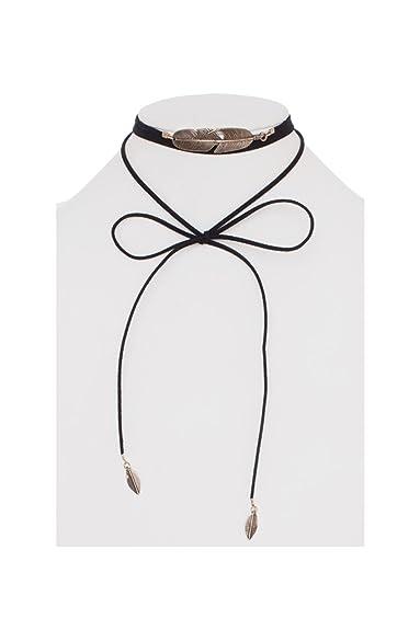Womens Suede String W  Feather Metal Pendant Layered Fashion Choker CPN0831  (Black) 5f08bdf303