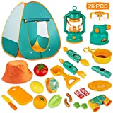 KAQINU 26 PCS Kids Camping Set, Pop Up Play Tent with Kids Camping Gear Toys, Indoor Outdoor Pretend Play Tools Set for Boys & Girls