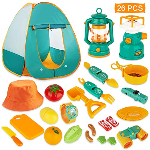 KAQINU 26 PCS Kids Camping Set, Pop Up Kids Play Tent with Camping Gear, Indoor Outdoor Adventure Kits Pretend Play Camping Toys for Toddler Boys & Girls