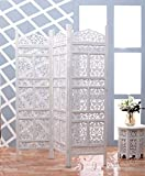 Artesia Handcrafted 3 Panel Wooden Room Partition, Wooden Screen (L-60 in x W- 0.75 in x H-72 in)