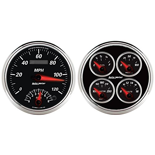 "Auto Meter 1204 Designer Black II 5"" Tachometer / Speedometer Combo Kit Box"