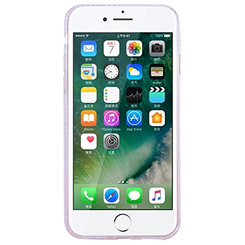 """WE LOVE CASE iPhone 7 / 8 Hülle Glitzern Transparent Flüssig Quicksand Diamant Liquid Liebe Sterne iPhone 7 / 8 4,7"""" Hülle Hardcase und Silikon Weich CaseRosa Handyhülle Tasche für Mädchen Elegant Bac"""