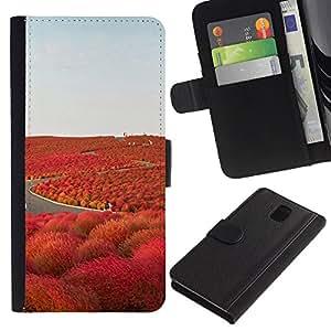 All Phone Most Case / Oferta Especial Cáscara Funda de cuero Monedero Cubierta de proteccion Caso / Wallet Case for Samsung Galaxy Note 3 III // Road Freedom Iceland Purple