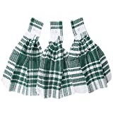 Home-X - Green Snap Top Towels (Set of 3), Kitchen Towels and Dishcloths that Easily Snap onto Drawers and Handles of, Perfect for Any Kitchen