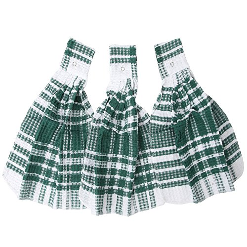 Home-X Snap Top Towels. Set of 3. Green and White Plaid Kitchen - Dish Top Hanging Towel