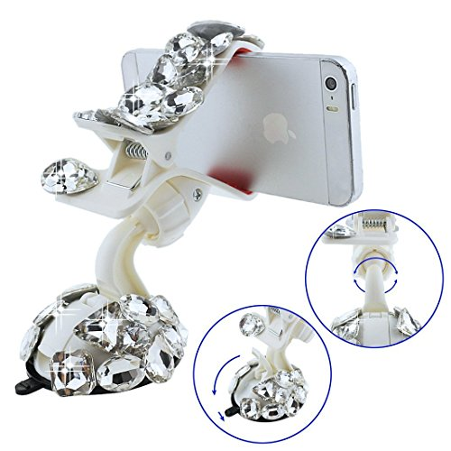 EVTECH(TM) Universal Luxury Transparent Colorful Bling Handmade Crystal Diamond Rhinestones Universal Multi-function Portable 360 Degree Rotating Suction Cup Mini Desk Car Mount Clip Stand Holder Car Windshield & Dashboard Mount for Smartphones Mobile Phones Touchscreen Tablet Digital Device GPS PDA (Not bigger than Galaxy Mega 6.3) (100% Handcrafted) (White Crystal Diamond Rain Drop Silvery Butterfly)