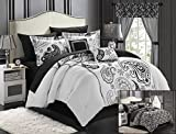 Purple and Tan Comforter Sets Chic Home Olivia 20-Piece Comforter Set Reversible Paisley Print Complete Bed in a Bag with Sheet Set, Window Treatments, and Decorative Pillows, Queen Black/White