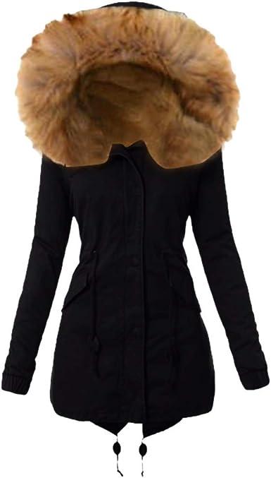 Todaies Women Warm Coat Long Jacket Fur Collar Hooded Coat Big Size Parka Windbreaker