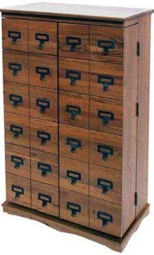 LDE LESLIE DAME Leslie Dame CD-612LD Solid Oak Mission Style Multimedia Storage Cabinet with Library Card Catalog Style Doors, Dark (Leslie Dame Dvd Storage)