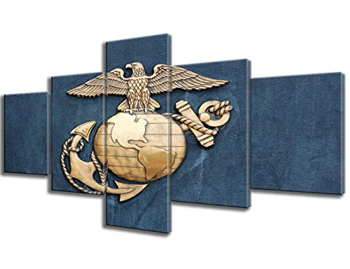 Navy Veteran Gifts 5 Panel Canvas Wall Art Insignia of the United States Marine Corps Picture Paintings Modern Artwork Home Decor Living Room Giclee Framed Gallery-wrapped Ready to Hang(50''Wx24''H)