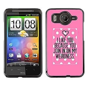 FlareStar Colour Printing Polka Dot Pink Love Valentines Couple cáscara Funda Case Caso de plástico para HTC Desire HD / inspire 4G / G10