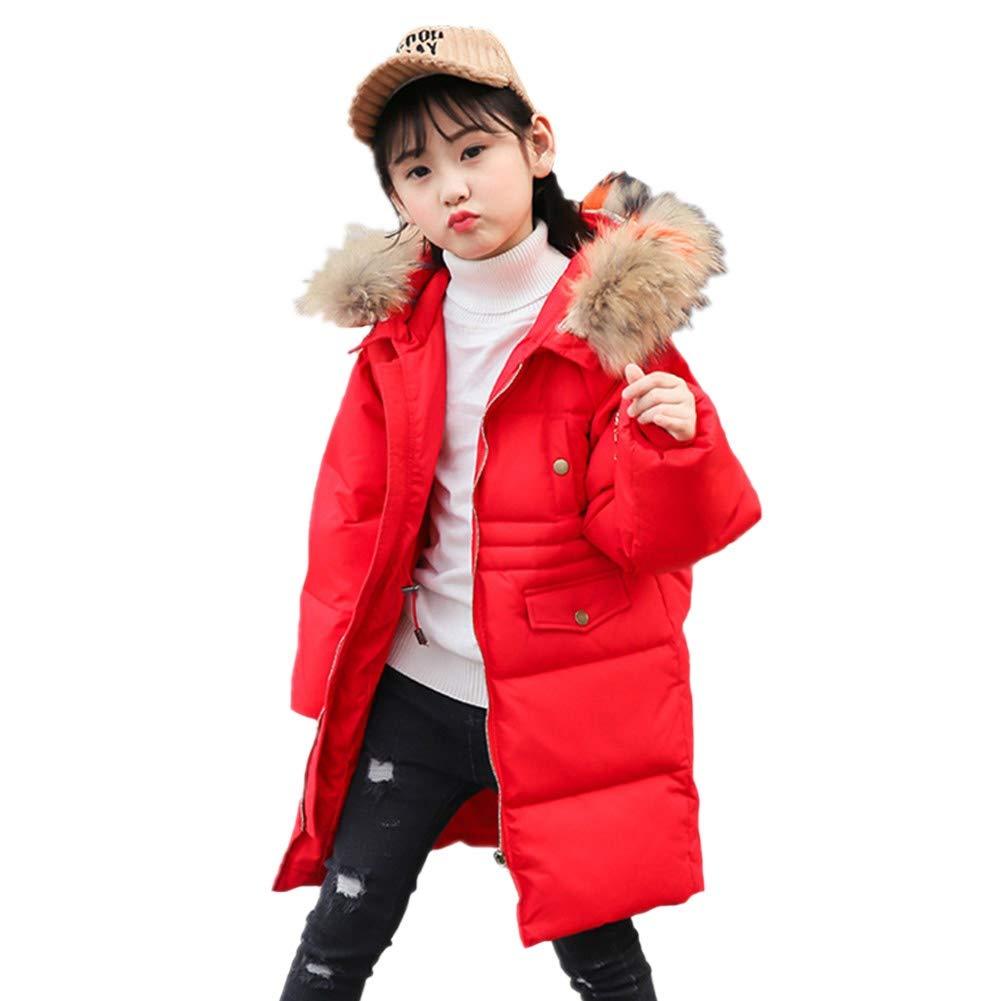 rouge 120cm YZ-HODC Version coréenne Enfants Hiver Unisexe Doudoune Manteau De Fourrure Col De Fourrure à Capuche Outwear Blanc Canard vers Le Bas LÂche Loisirs Chaud Coupe-Vent