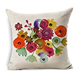 Arts & Crafts : Usstore 1PC Decorative Pillowcases Zipper Flowers Linen Square Throw Pillow Cover Cafe Home Decoration for Living Sofas Beds Room (B)