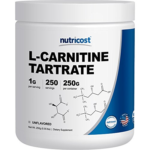 Nutricost L-Carnitine Tartrate Powder (250 Grams) - 1 Gram per Serving, 250 Servings