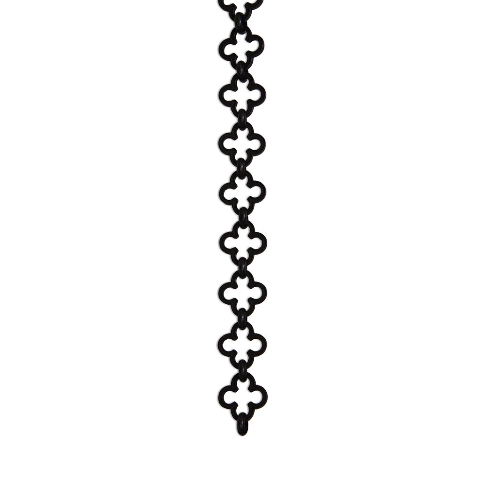 RCH Hardware CH-37-OBB-3 Decorative Oil Bronzed Black Solid Brass Chain for Hanging, Lighting - Cross Clover Design Unwelded Links (3 ft/1 Yard)