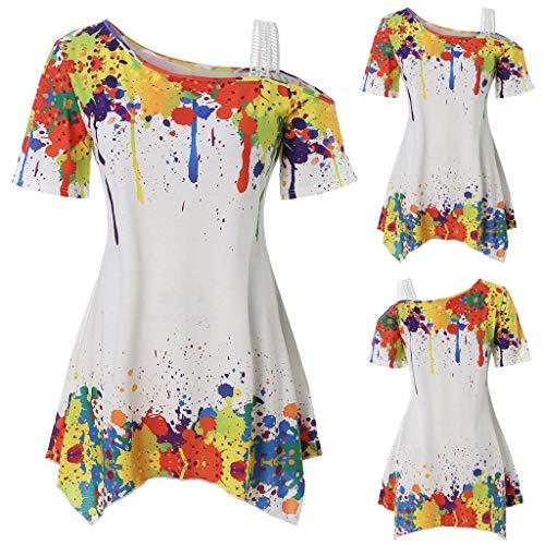 Women's Pullover Jiayit Women's Fashion Short Sleeve Off Shoulder Color Inkjet Print Irregular Hem T-Shirt Casual Top