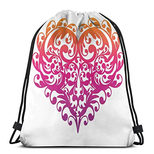 (Printed Drawstring Backpacks Bags,Vibrant Abstract Heart With Ornament Pattern Swirls Curls Scroll Style,Adjustable String Closure)