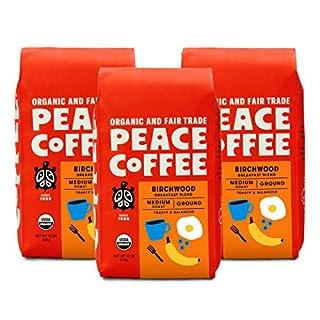 Peace Coffee Birchwood Breakfast Blend Medium Roast, Organic Fair Trade Coffee, Ground 3 pack