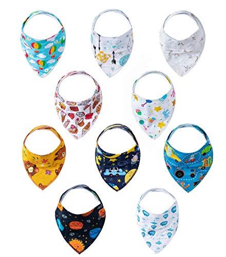 10-Pack Baby's Cute Prints Bandana Bibs Teething Bibs Bibs For Feeding Drooling (Assorted 02)