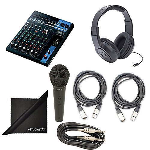 Yamaha MG10 10-Channel Mixing Console Bundle with Vocal Mic, Headphones, XLR Cable, Instrument Cable, and Polishing Cloth (Yamaha Mixing Consoles)
