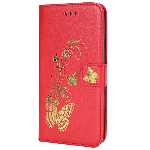 Funda LG G8, LG G8 Piel Carcasa Flip Case Cover Libro Premium PU Leather Cuero Carcasa Funda-EUWLY Elegante Estuche Caja Con Ultra Delgado Suave TPU Silicona Case Cubierta Fina Piel Bumper Skin Wallet Mariposa Dorada,Rojo