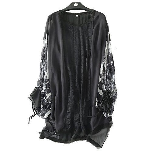 MORAN Original design Fashion ladies summer printing Silk Round neck A-Line Skirts+camisole (S, Black) by MORAN