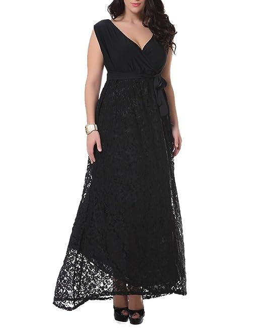 ZhuiKun Mujeres Talla Grande Vestidos Largos Sin Mangas Vestidos de Encaje Negro L