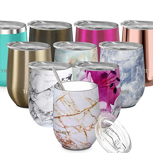 Stainless Steel Stemless Wine Glass - THILY Triple Vacuum Insulated Tumbler Travel Cute Cup with Lid, Reusable Straw, Keep Cold & Hot for Wine, Coffee, Birthday Bride Xmas Gift, Gold Marble (Wine Xmas Glass)