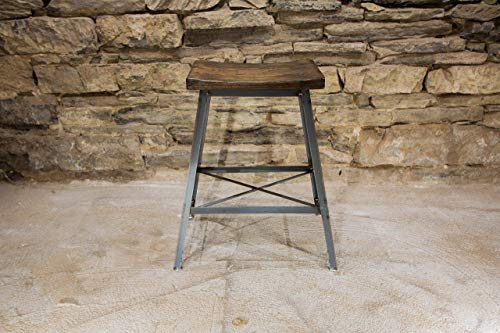 The Saddle Seat Bar Stool | Reclaimed wood | Industrial Base | Free Shipping ()