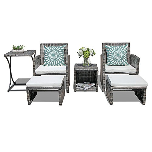 Orange Casual Patio 6 Pieces Wicker Conversation Set Outdoor Furniture Sets with Side Table & Ottoman, All Weather Grey Rattan and Beige Polyester Cushion